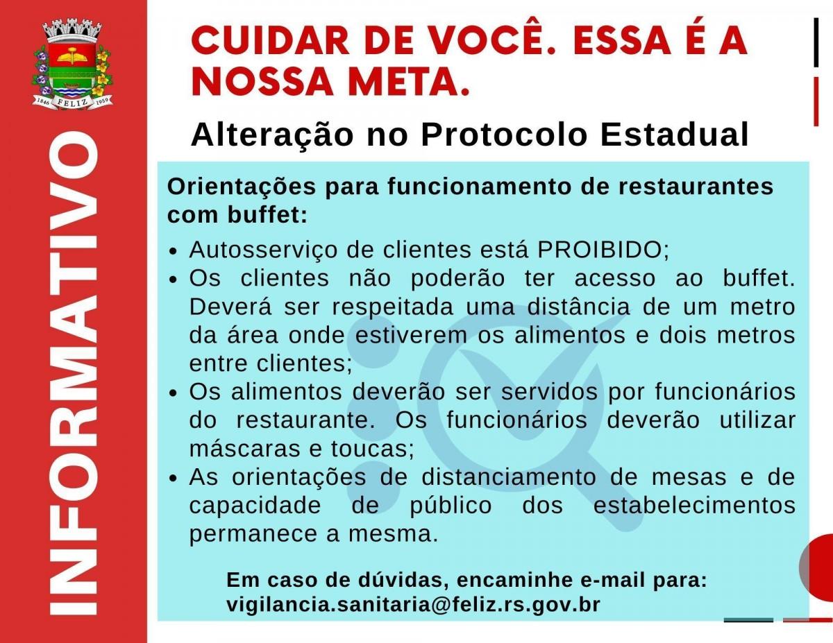 Atenção, houve mudança no Protocolo originário do Estado do Rio Grande do Sul quanto aos restaurantes com buffet