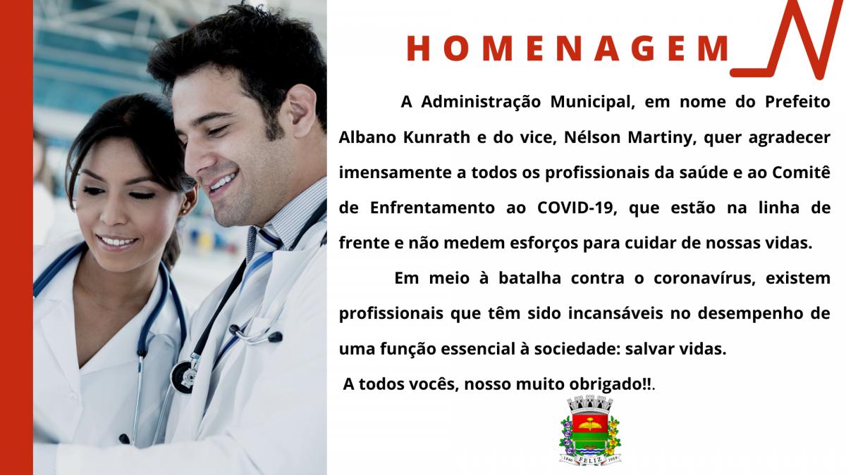 Homenagem aos profissionais de saúde