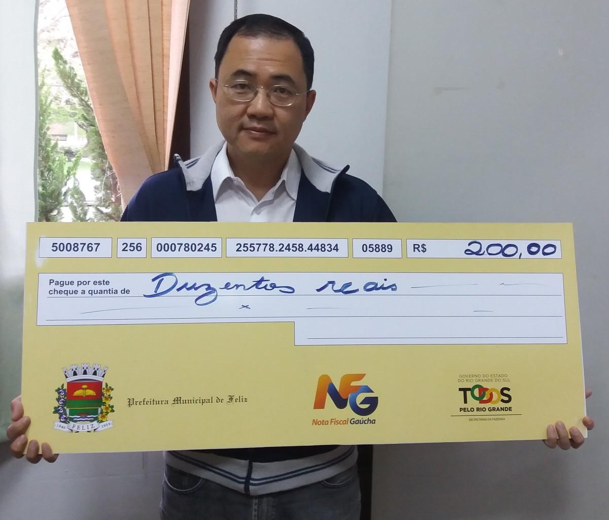 Mais um ganhador da Nota Fiscal Gaúcha Municipal