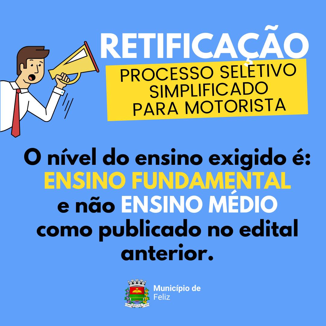 RETIFICAÇÃO DO PROCESSO SELETIVO PARA MOTORISTA