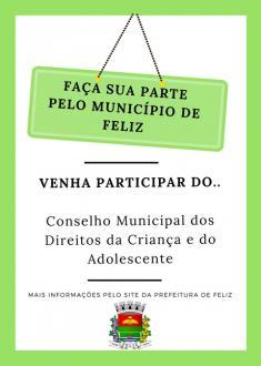 Conselho Municipal dos Direitos da Criança e do Adolescente busca representantes