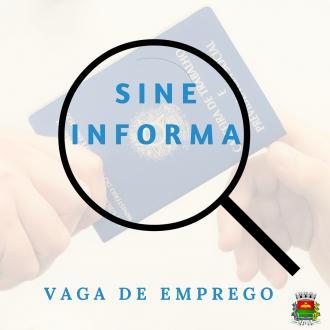 SINE/FGTAS informa vaga de trabalho