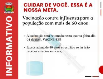 Vacinação contra gripe será retomada quarta-feira, dia 08